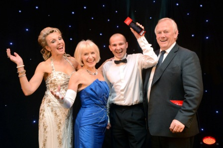 656354-1 : ©Lionel Heap : A Question of Brains 2014 Charity Event in Aid of Steps : 2014 Champions Mark J Rees Chartered Accountants.... L-R Event host Anne Davies of BBC TV, Rosemary Conley CBE DL, Patron of Steps, winning team captain Andy Turner of Mark J Rees and Peter Wheeler.