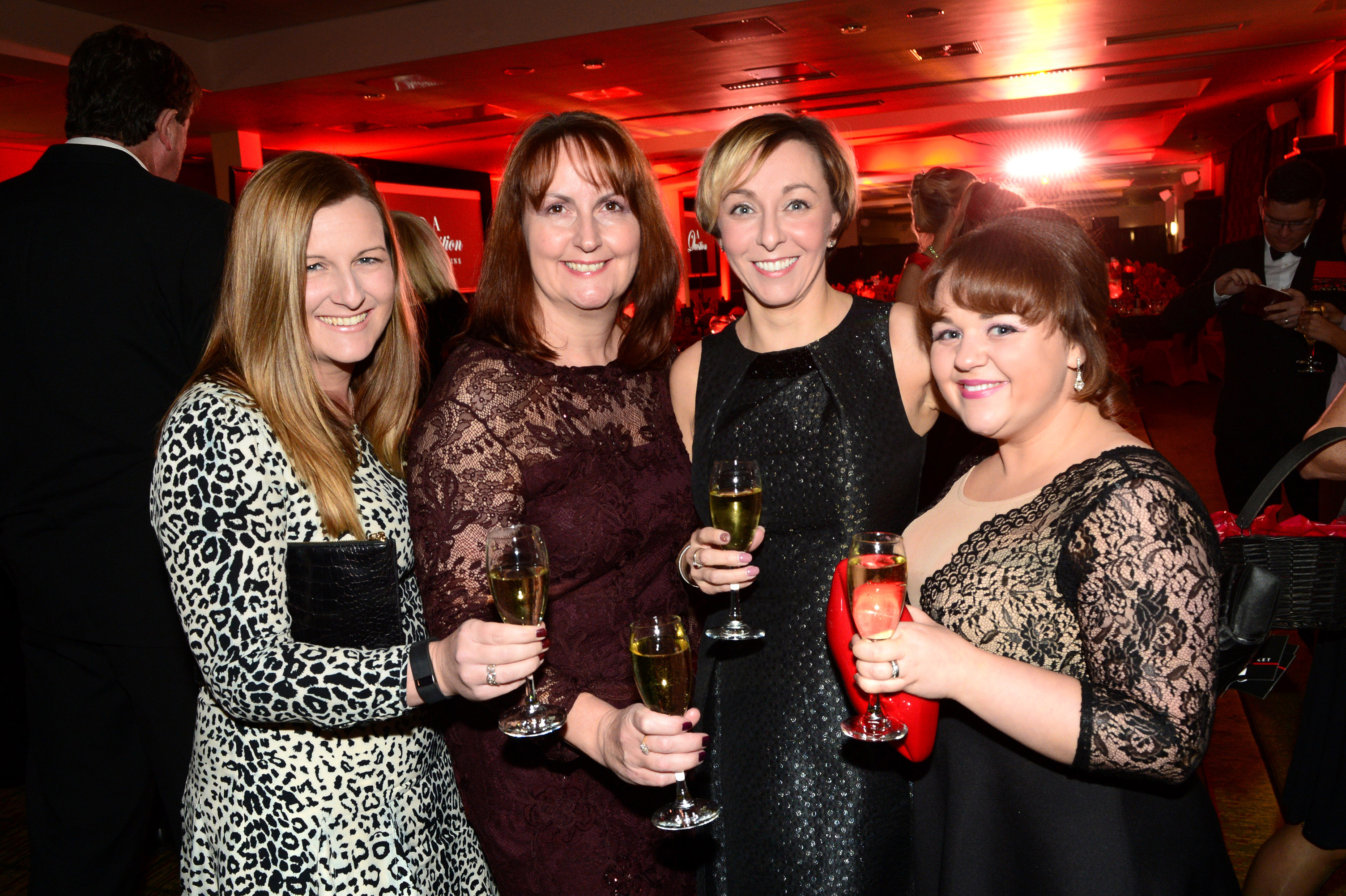 656456-03 : ©Lionel Heap : 2016 A Question of Brains Charity Evening in Aid of Steps : L-R Lindsey Treharne, Dawn Churchley, Lesley Westwood and Sarah Francis.