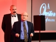656456-15 : ©Lionel Heap : 2016 A Question of Brains Charity Evening in Aid of Steps : Entertainment... world renowned magician from the USA Bill Herz (front).