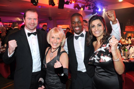 656219-1 : ©Lionel Heap : News : A Question of Brains Charity Event in Aid of Steps : Celebrity support.... L-R Leicester Tigers & Irish International Rugby star Geordan Murphy, event organiser and Steps patron Rosemary Conley, Comonwealth Games Gold Medalist sprinter Leon Baptiste & ITV Central today presenter Sameena Ali-Khan.