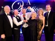 A Question of Brains 2017 : Winners Presentation : L-R Peter Wheeler CBE, Brian Beggan of winning team One Step Ahead, Duncan Crawford of winning team One Step Ahead, Rosemary Conley CBE, Anne Davies and Geordan Murphy.