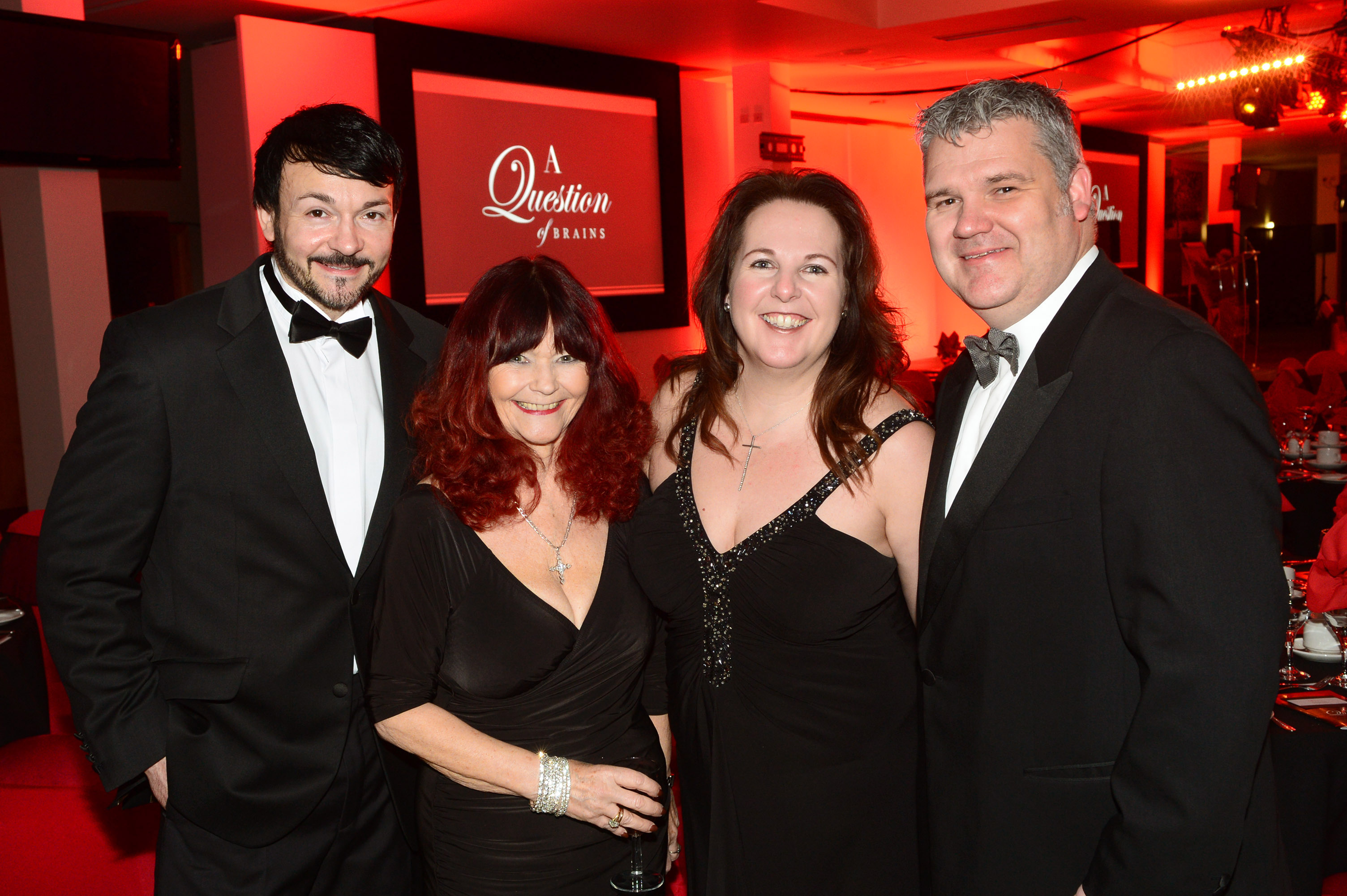 656456-01 : ©Lionel Heap : 2016 A Question of Brains Charity Evening in Aid of Steps : L-R Nick Wallbank, Janet Russell, Sharon Keevins and Peter Jones.