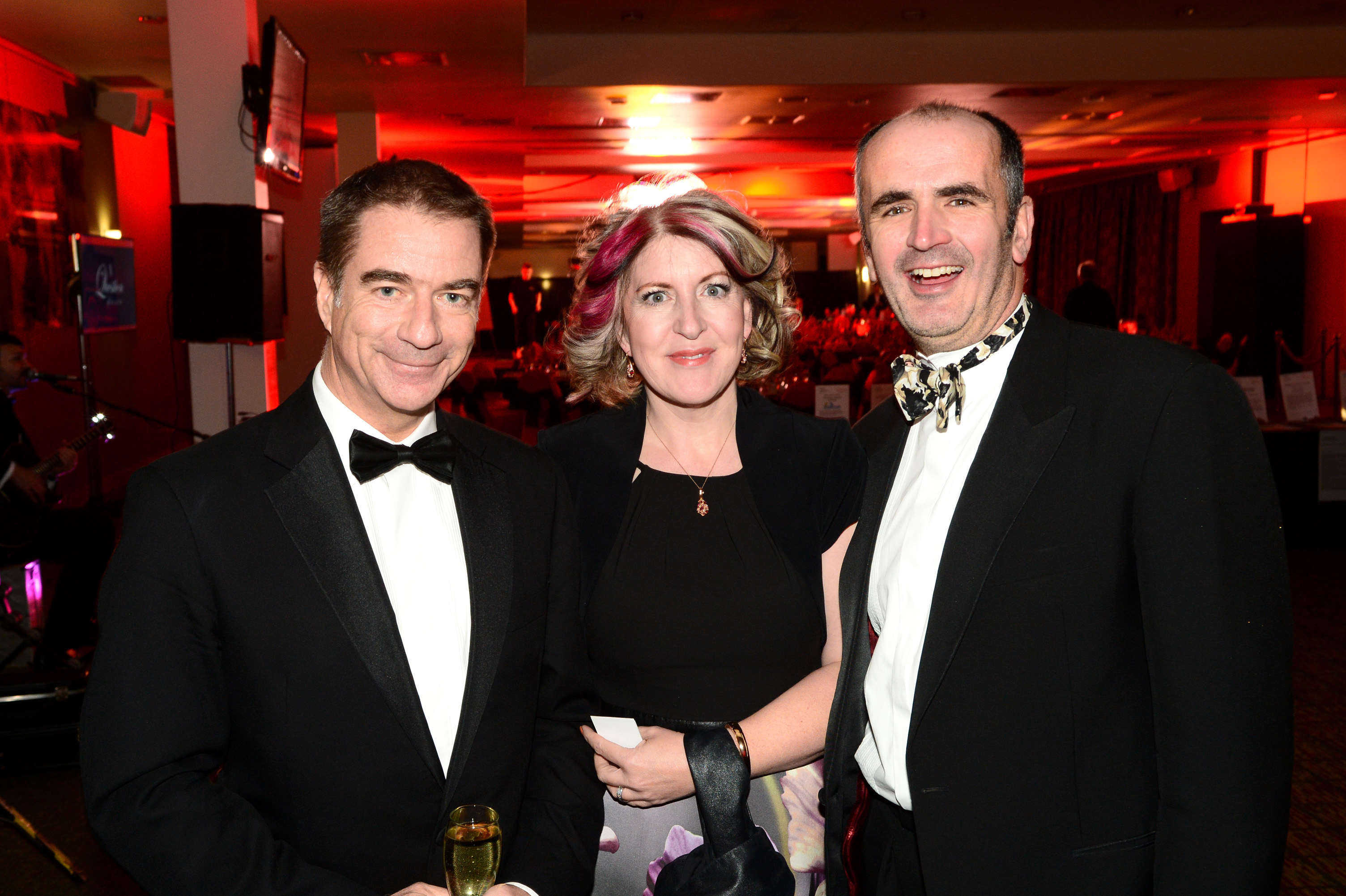 656456-02 : ©Lionel Heap : 2016 A Question of Brains Charity Evening in Aid of Steps : L-R Ian Borley, Sharon and Graham Smith.